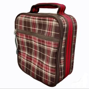 Pottery Barn kids plaid zip up fabric lunch bag